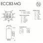 ECC83 MG JJ Electronic - Abmessungen und Sockelbelegung