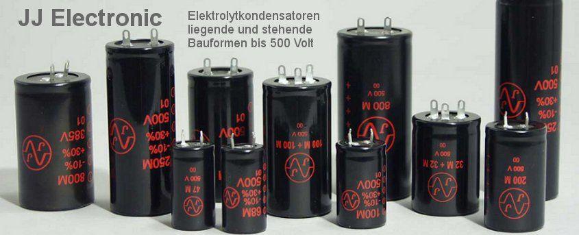 Elektrolytkondensatoren axiale/liegende und radiale/stehende Bauformen bis 500 Volt.