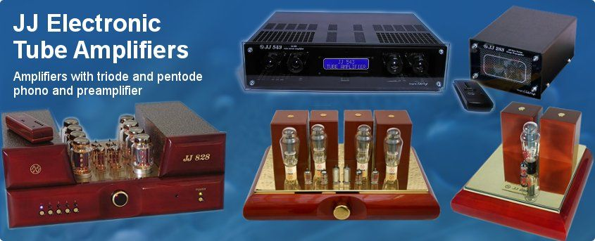 JJ-Electronic Tube Amplifiers with triode pentode and, phono and preamplifier.
