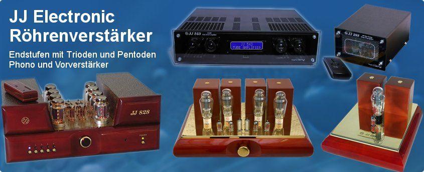 JJ-Electronic Röhrenverstärker für Endstufen mit Trioden und Pentoden, Phono und Vorverstärker.